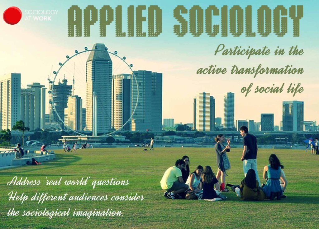 A group of young people talk outdoors. The text reads: Applied sociology. Participate in the active transformation of social life. Address real world qustions. Help different audiences consider the sociological association