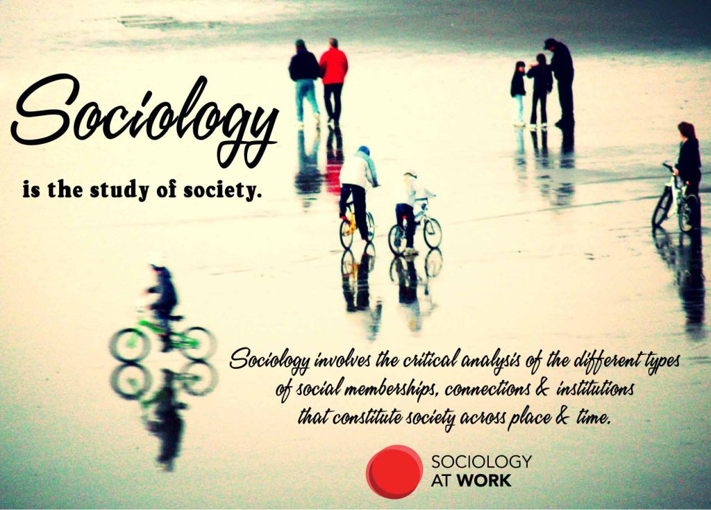 Sociology is the study of society. It involves the critical analysis of the different types of social memberships, connections & institutions that constitute society across place & time.